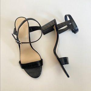 Nine West pruce croc black embossed block heel 10